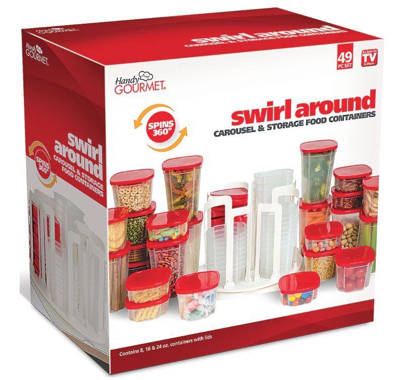 Food Storage Container Carousel Spin Store Swirl Around Organizer 49 Pieces New! 1