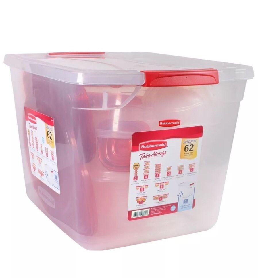 Rubbermaid TakeAlongs Food Storage Set- 62 pc Dishwasher Microwave Safe 1