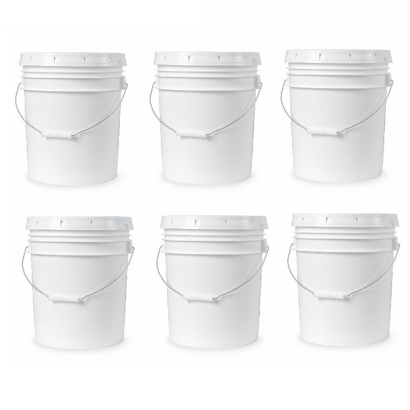 5-gallon White Plastic Bucket w/ Handle Lid Food Grade Kitchen Storage Container 1