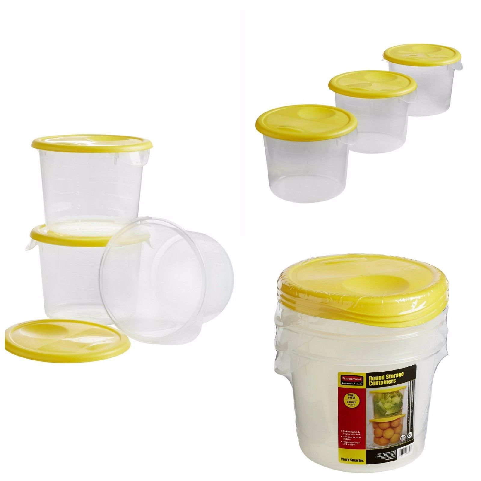 Commerical Food Storage Containers Clear Round Lock Lids (6 Quart) Buckets NEW 1