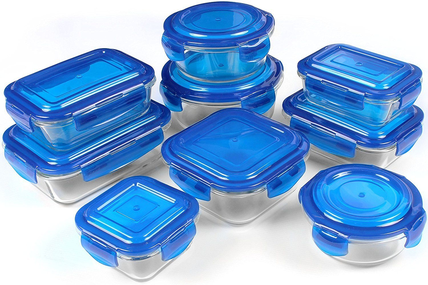 Glass Storage Container Set, Blue, 18 Piece -FDA Approved -Reusable -Utopia 1