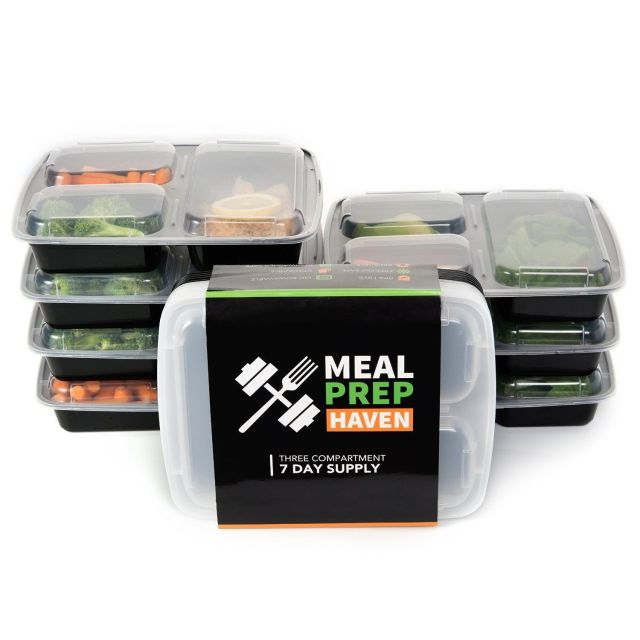 Meal Prep Food Containers Lunch Box Microwave Safe 3 Compartment Bento 7-14 Pack 3