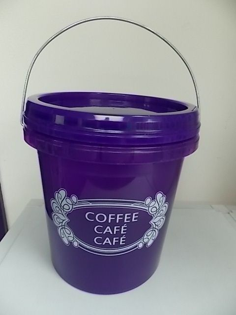 OPIF- BUCKET-FOOD STORAGE CONTAINER-SCREW LID-HANDLE-PAIL-1 GALLON-COFFEE-PURPLE 1