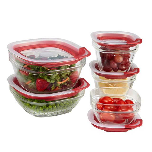 Rubbermaid 1812453 Easy Find Lid Glass Food Storage Container 10-Piece Set New 1