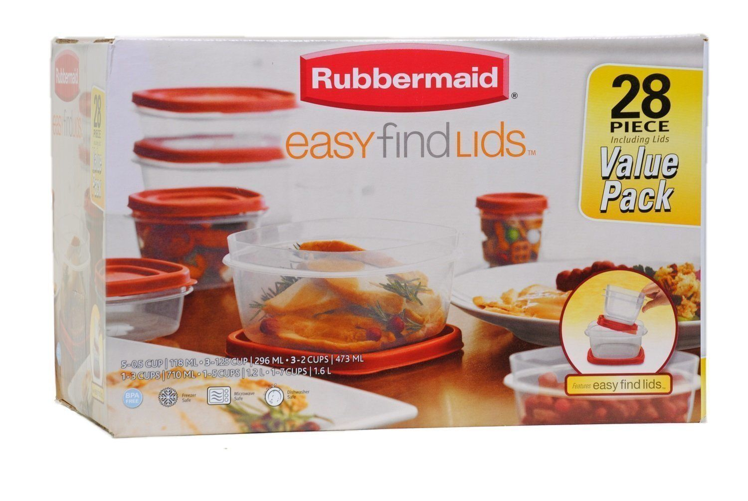 Rubbermaid Easy Find Lid Food Storage Container, 42Piece set, New, Free Shipping 1
