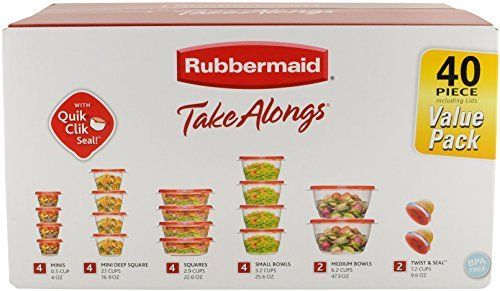 Rubbermaid TakeAlongs Assorted Food Storage Container, 40 Piece Set, Racer Red 1