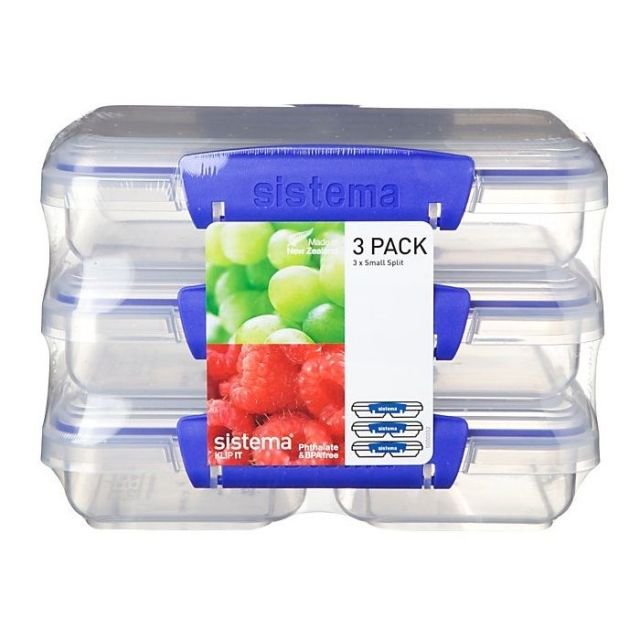 Sistema Klip It Collection 3-Pack Small Split Food Storage Containers, 1513 New 5