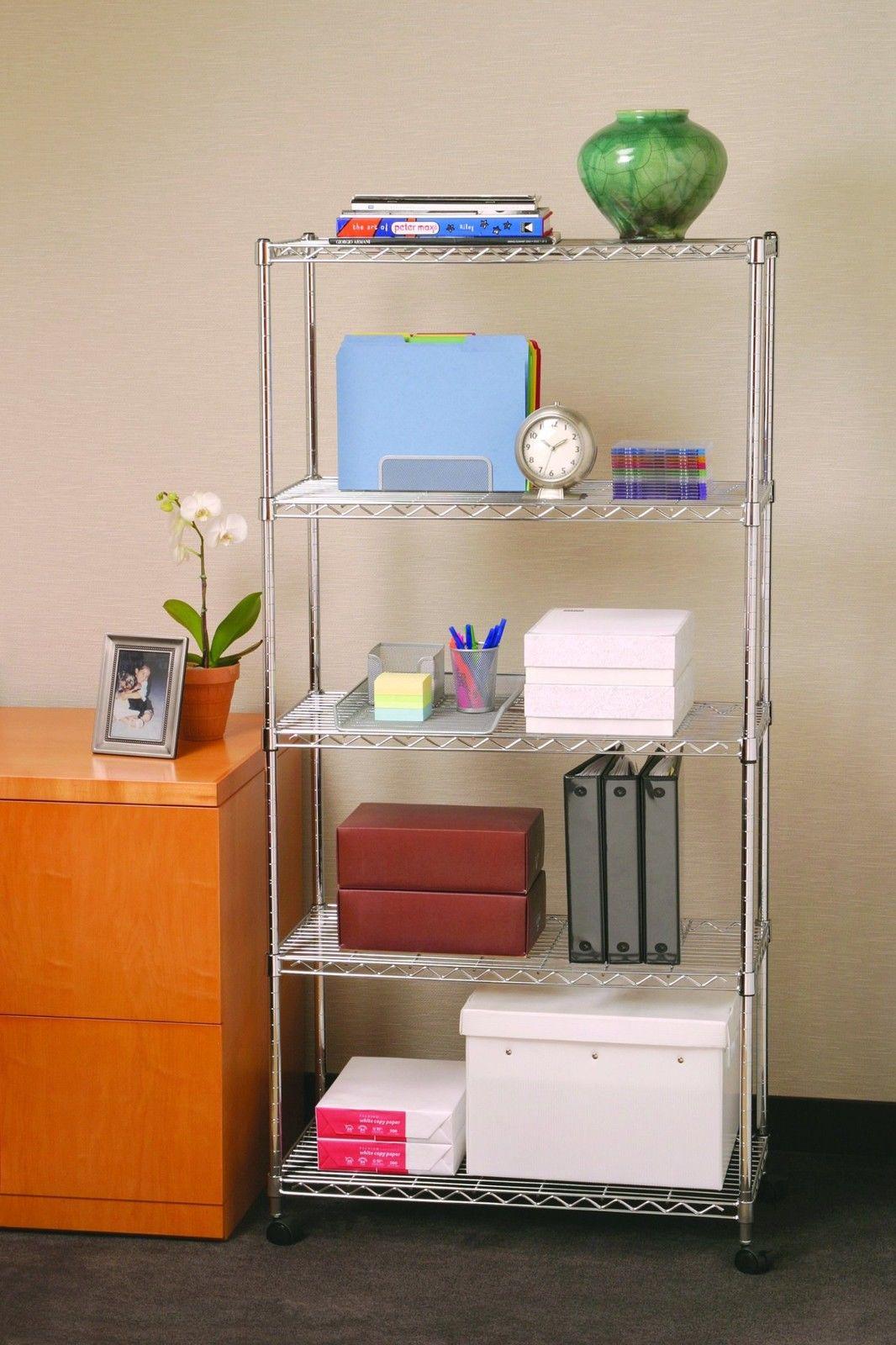 5 Tier Shelving Wheels Rack Adjustable Shelf Wire Metal Storage Pantry Food New 1
