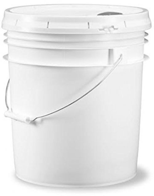Food Grade White Plastic Storage Bucket Container Pour Spout Lid 5 Gallon 1 Set 1
