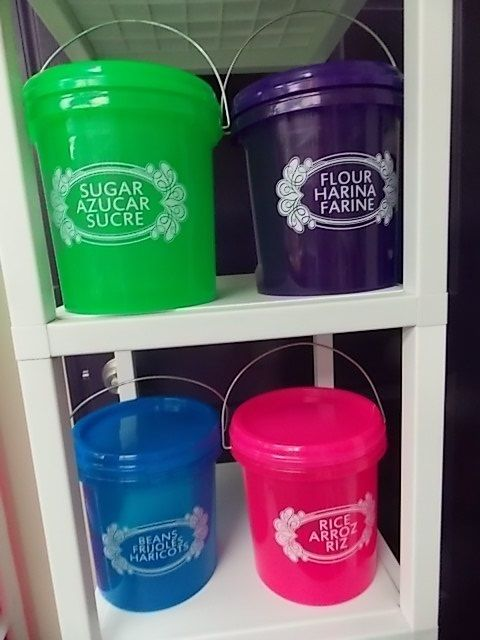 OPIF-4 BUCKETS-FOOD STORAGE CONTAINER-SCREW LID-HANDLE-PAIL-1 GALLON-F 1