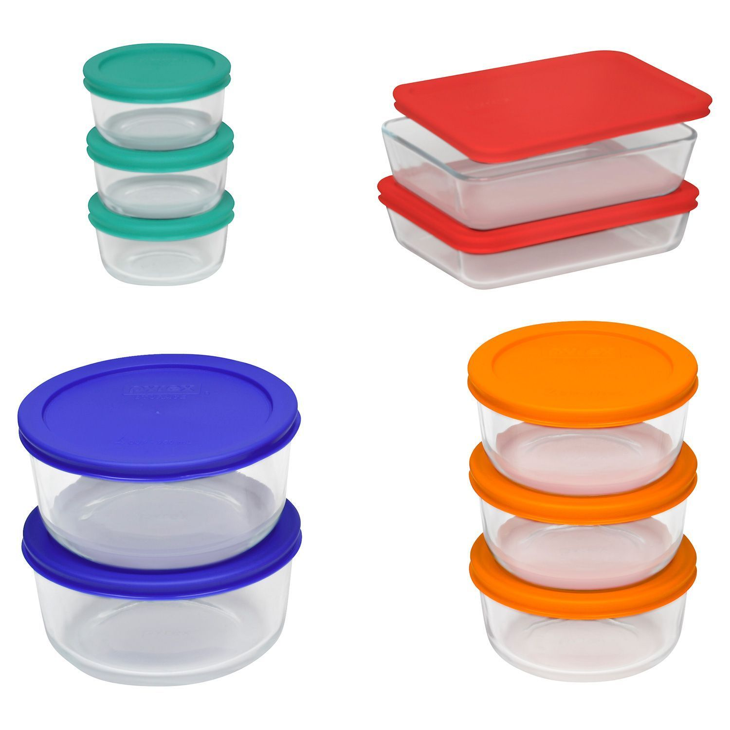 Pyrex 20 pc Glass Food Storage Set Bakeware Bowls with Lids Serving - New! 1
