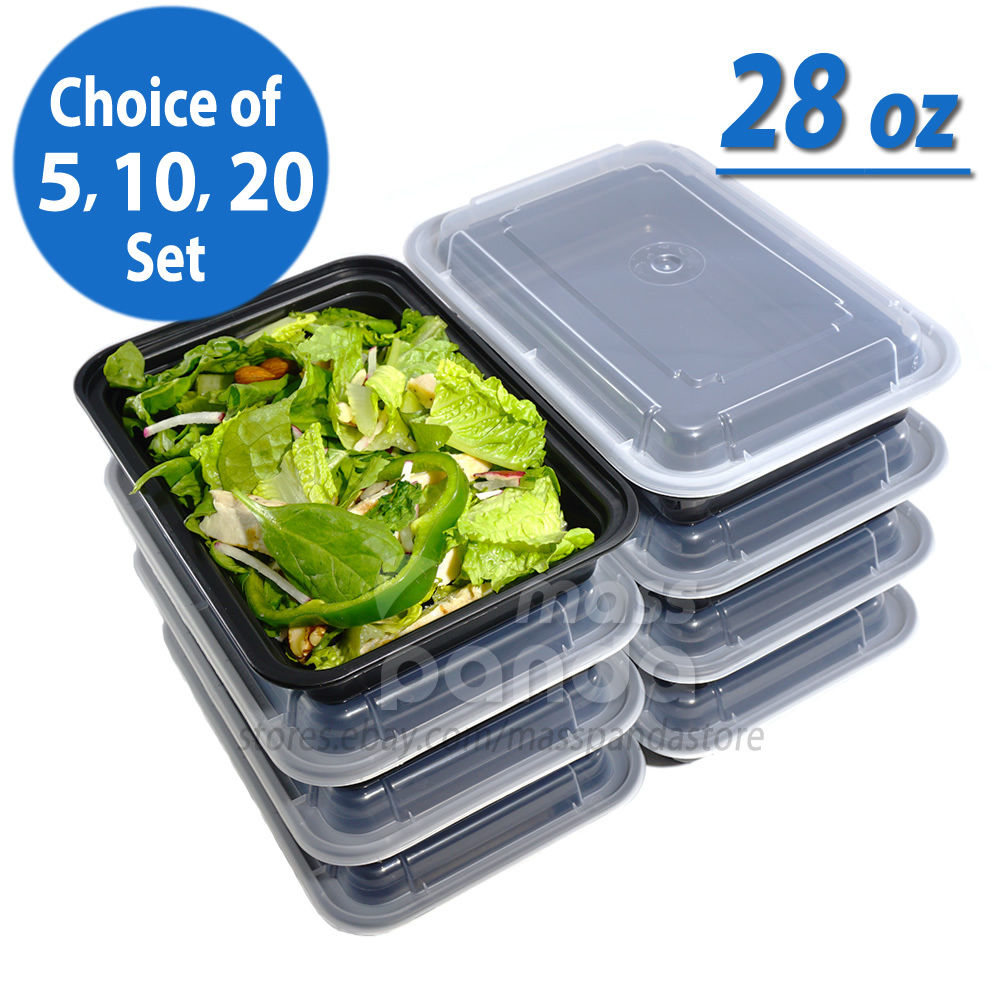 28oz Meal Prep Food Containers with Lids, Reusable Microwavable Plastic BPA free 1