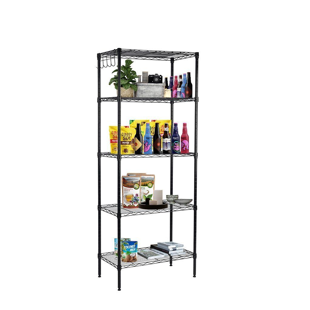 5 Tier Wire Storage Rack Shelving Unit Home Food Pantry Kitchen Organizer Stand 1