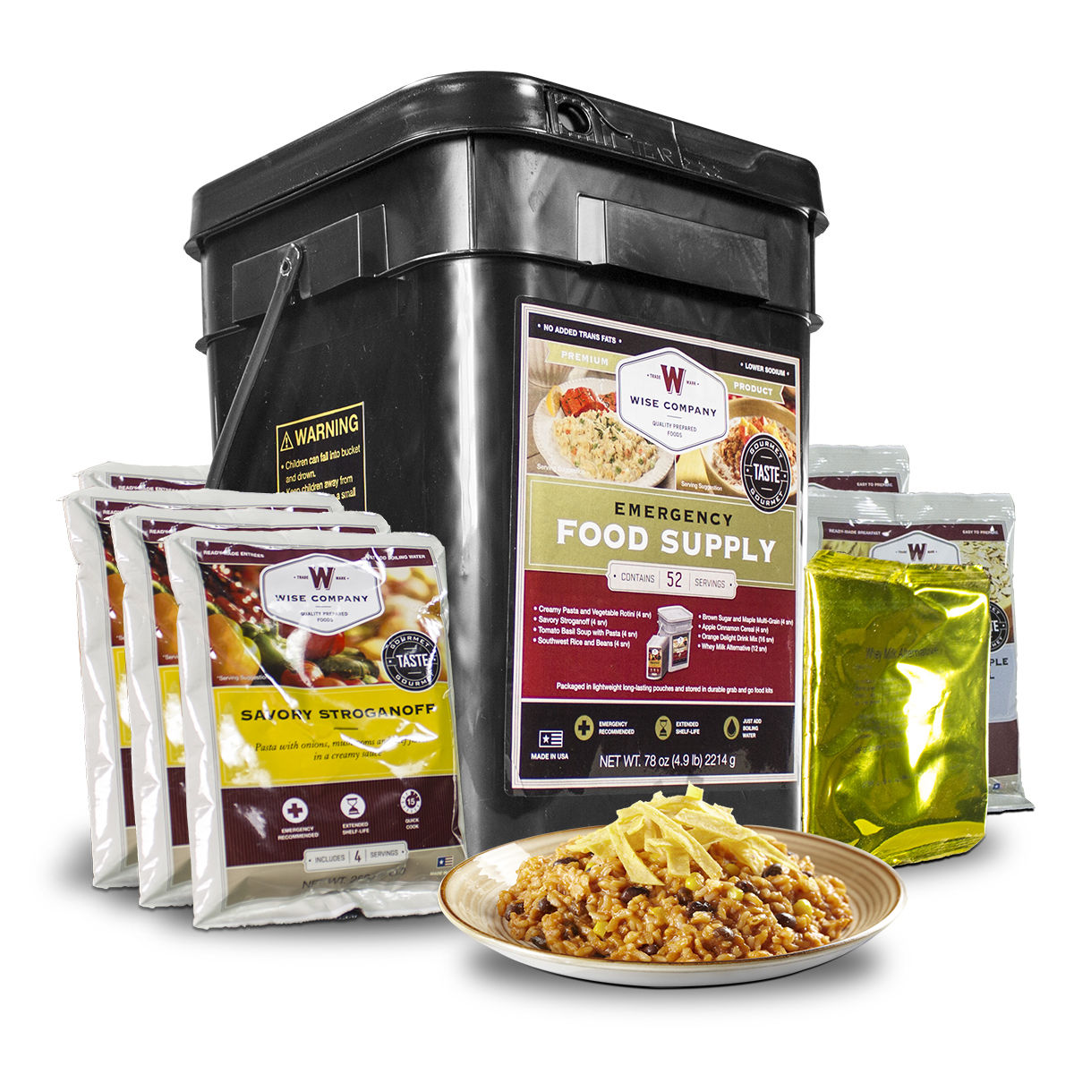 52 Servings of Wise Freeze Dried Emergency Food and Drink Storage 1
