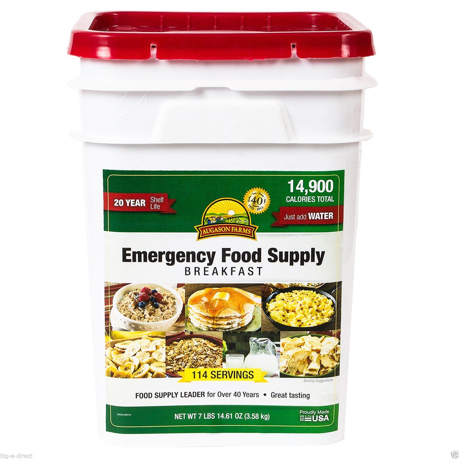 Augason Farms 162 Servings Emergency Food Storage Supply Dried Breakfast Pail 1