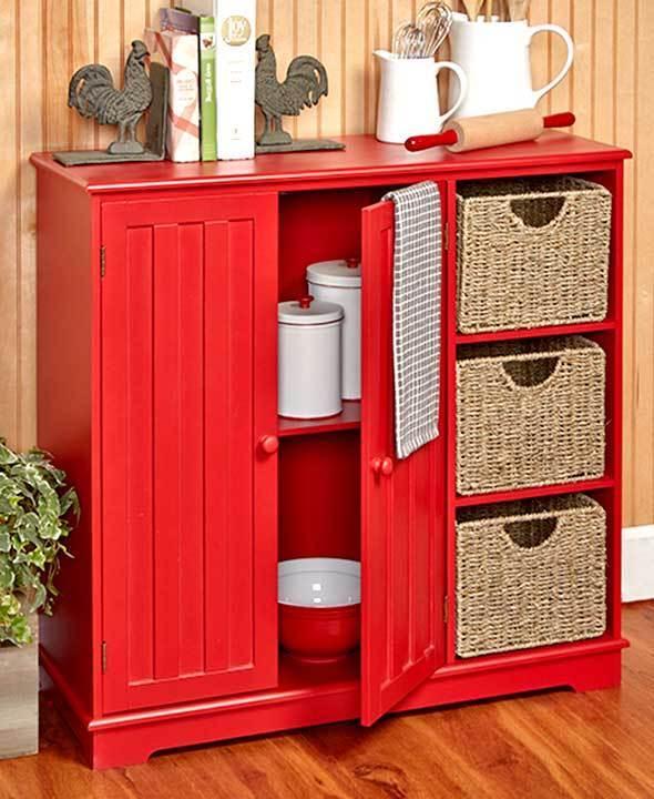 Country Look Food Storage Unit Cabinet Shelves Kitchen Bath Rustic Farmhouse -- 1