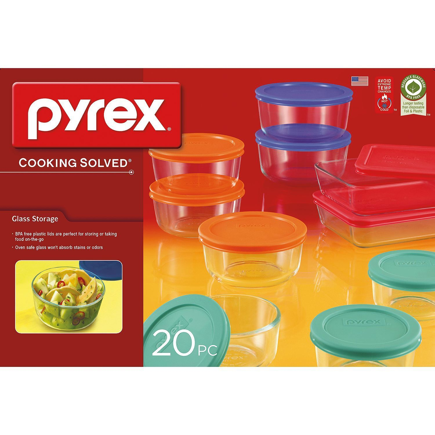Pyrex 20 Piece Kitchen Glass Food Storage Set Lunch Box Container Microwave Safe 1