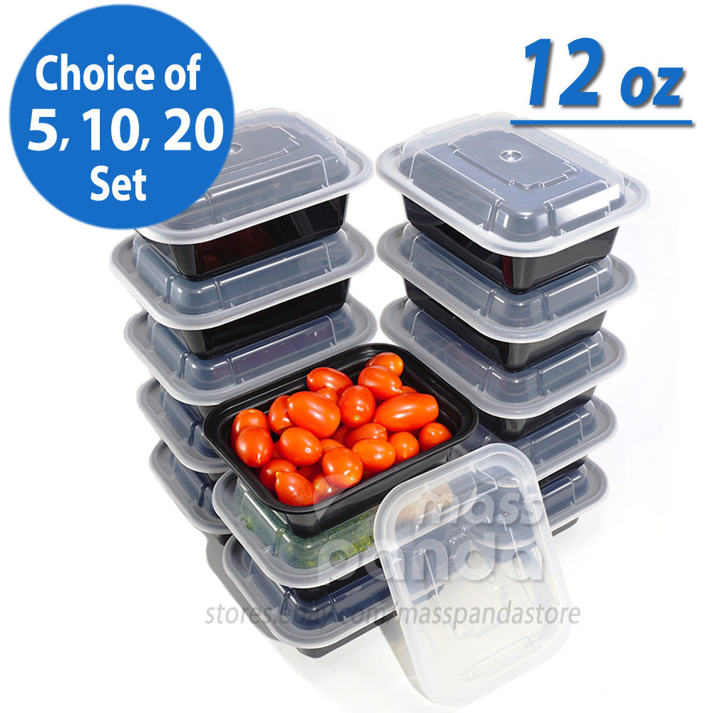 12oz Meal Prep Food Containers with Lids, Reusable Microwavable Plastic BPA free 1