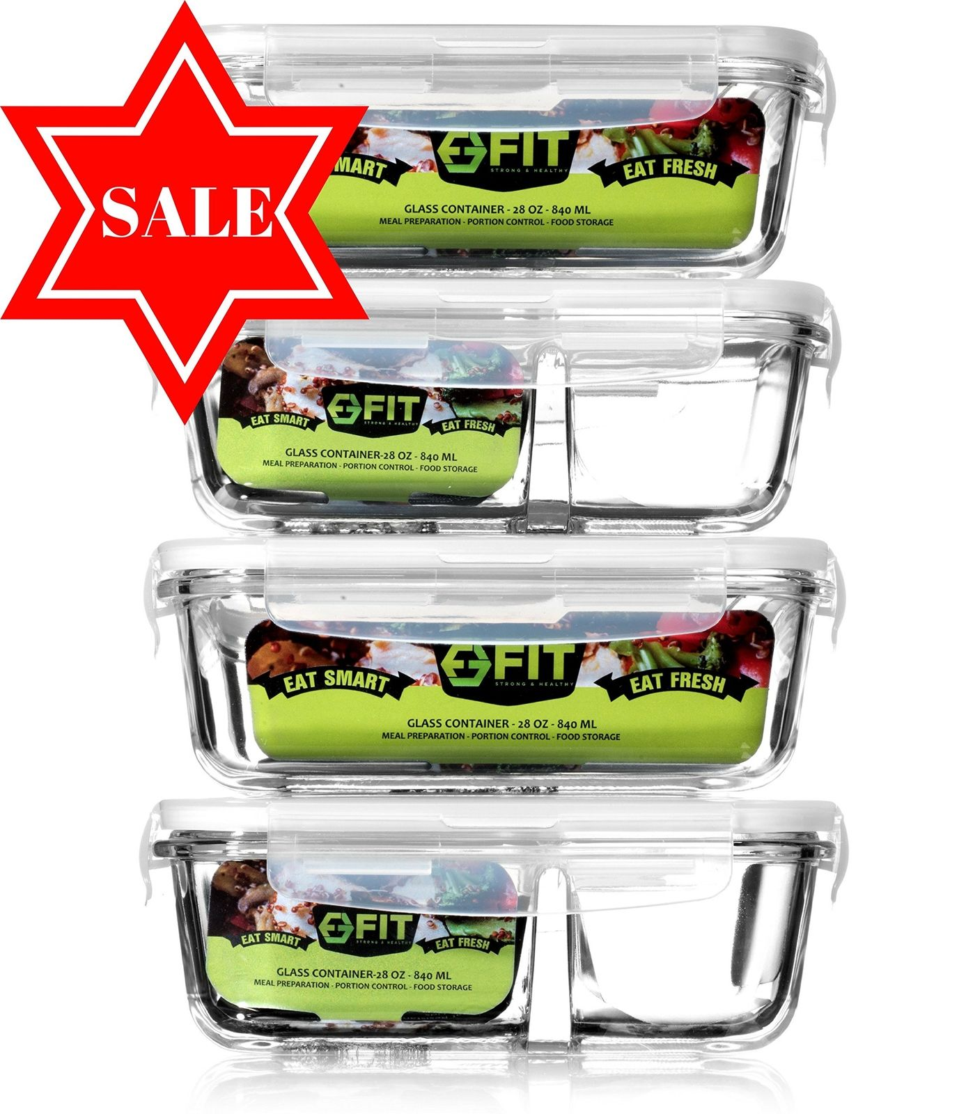 4 Glass Meal Prep Food Storage Containers And Lids 2 Compartment Containers Set 1