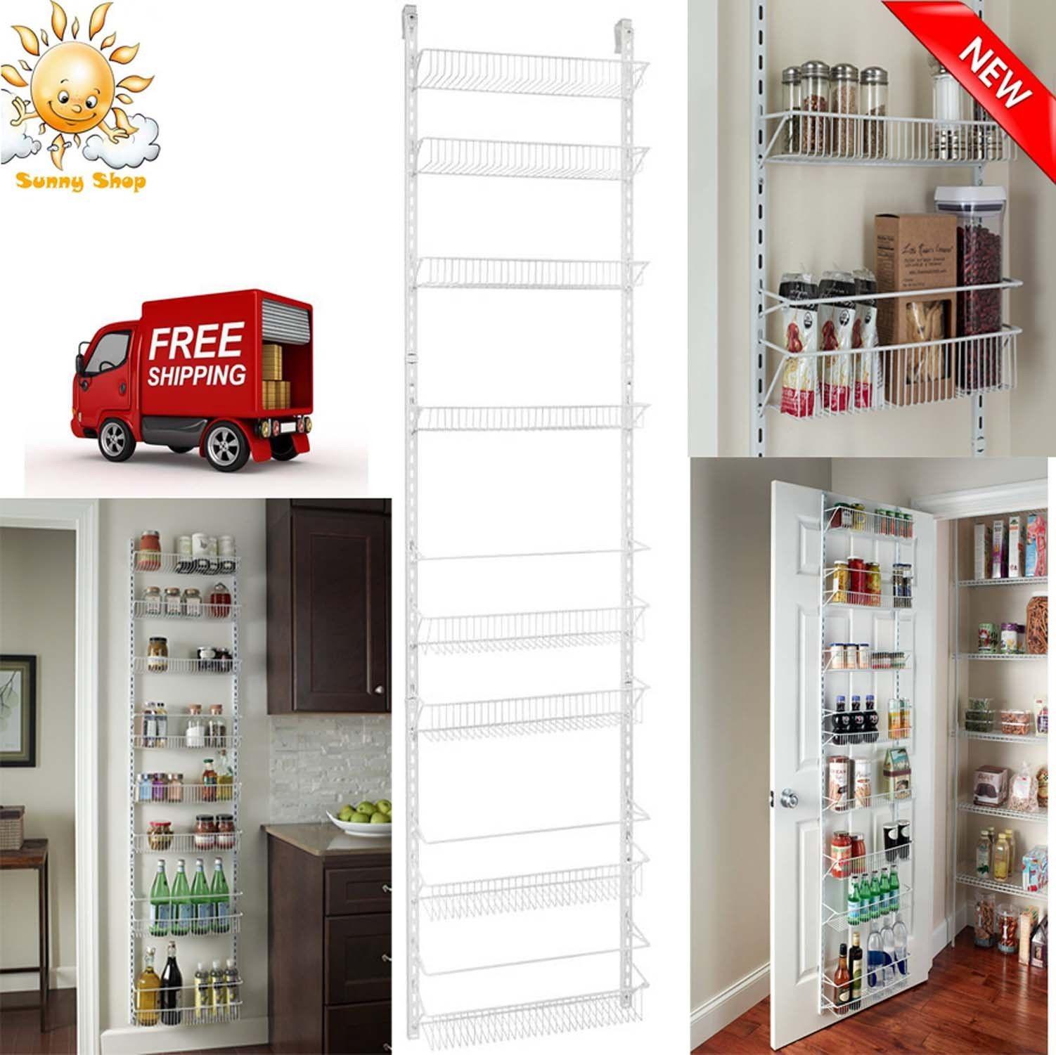 Adjustable Over the Door Storage Rack 8 Shelves Kitchen Pantry Organizer Food 1