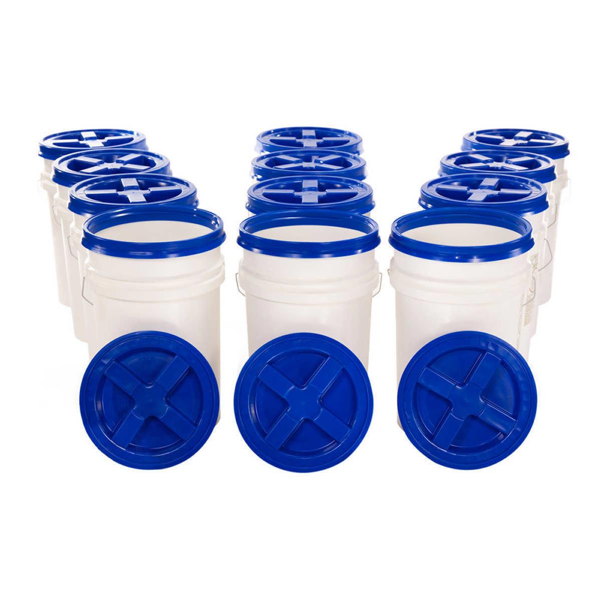 Nutristore 12 pack 6 Gallon Buckets w/ Gamma Seal Lids - Emergency Food Storage 1