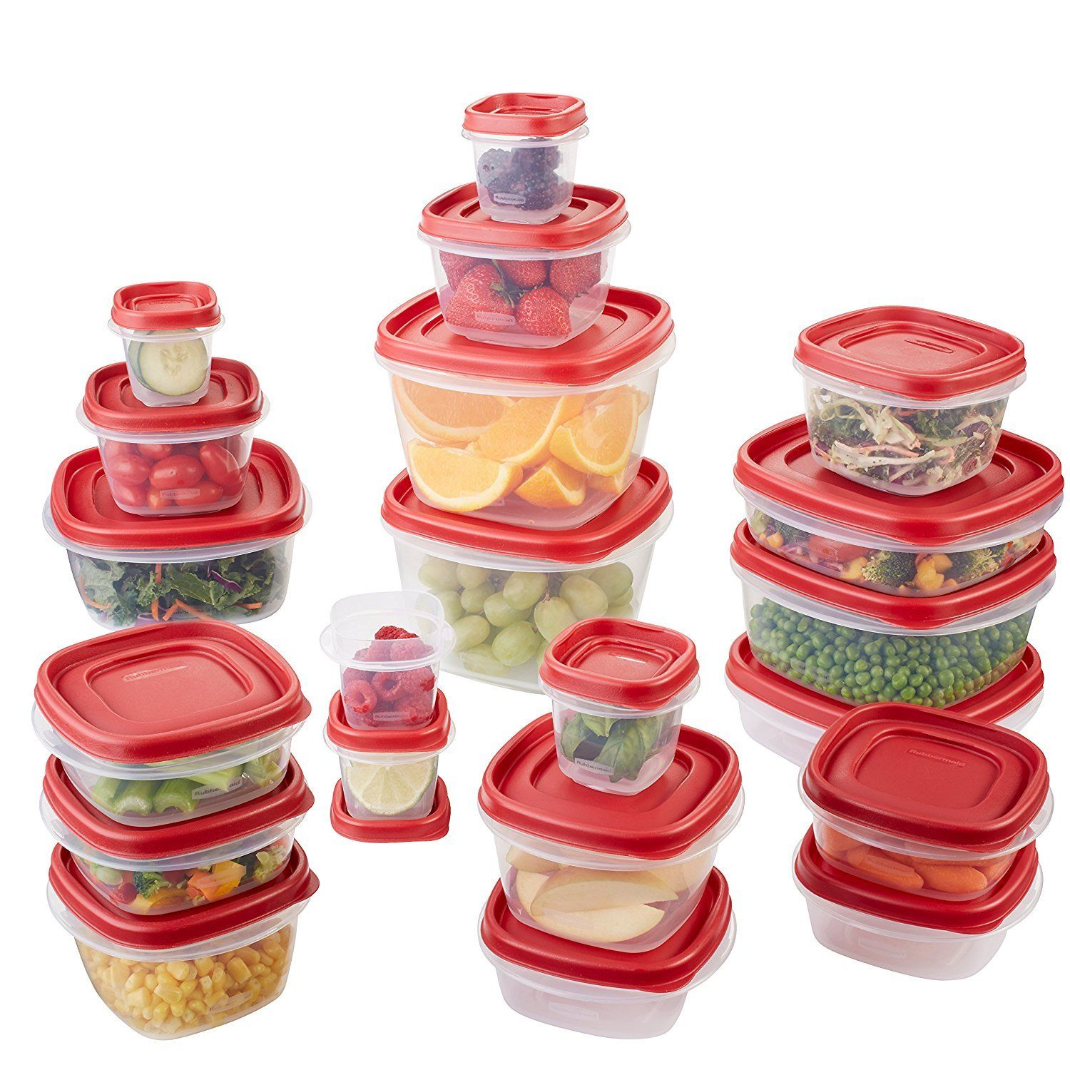 Rubbermaid Easy Find Lids Food Storage Container, 42-Piece Set, Red 1