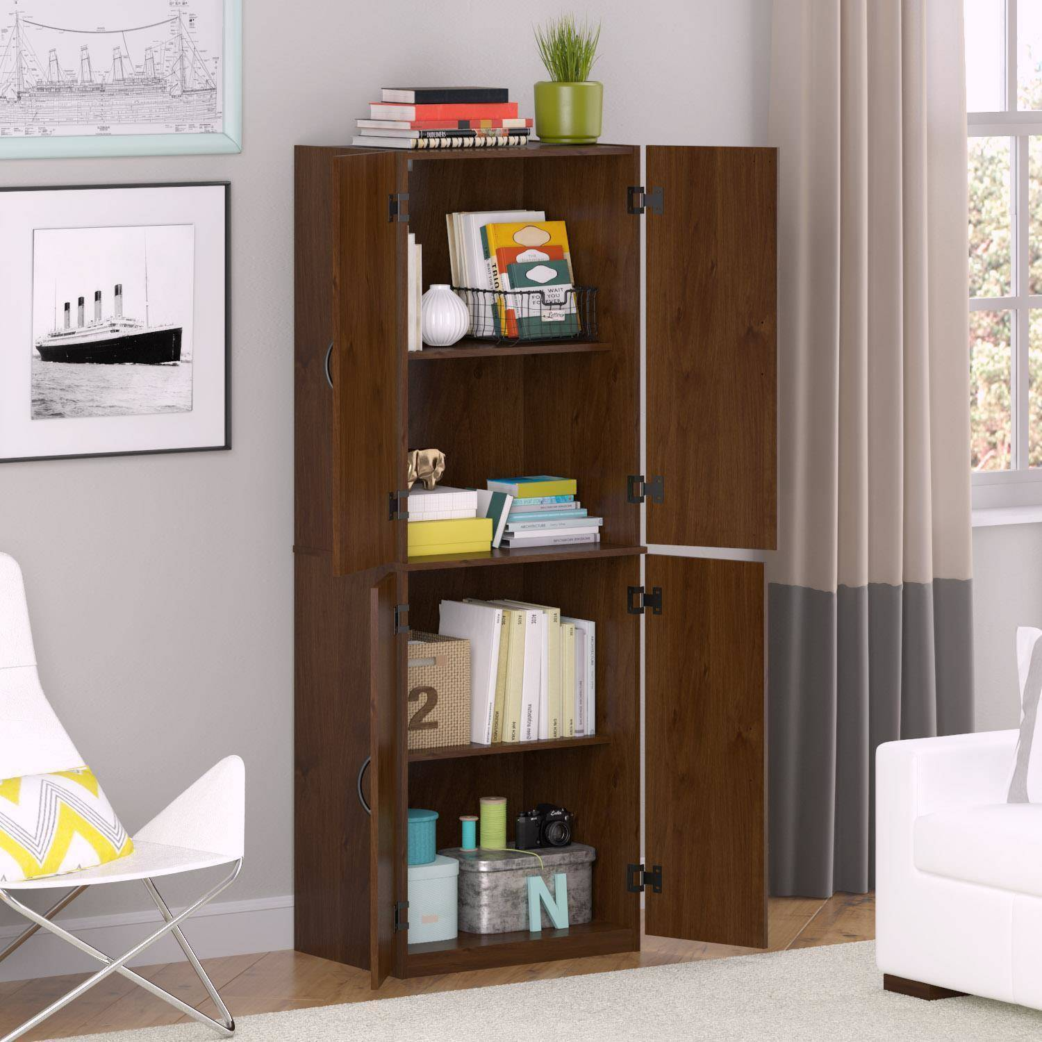 Storage Cabinet Food Pantry Shelves Office Brown Linen Closet Garage Organizer 1