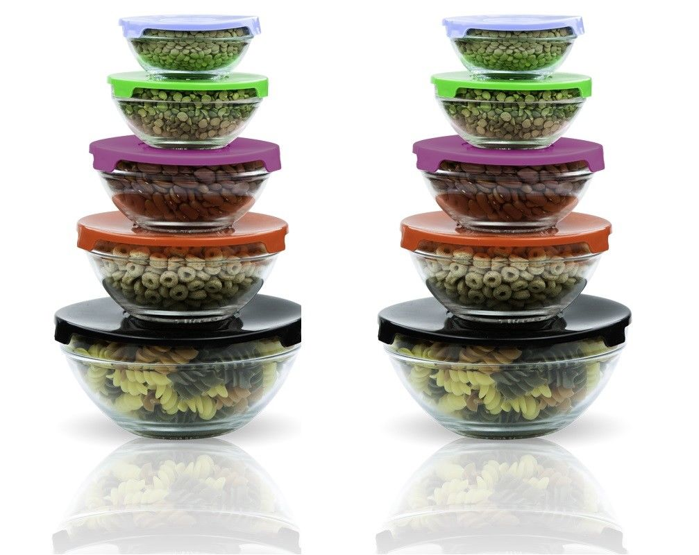 2 Pack 10 Pcs Glass Lunch Bowls Food Storage Containers Set Color Coded Lids 1