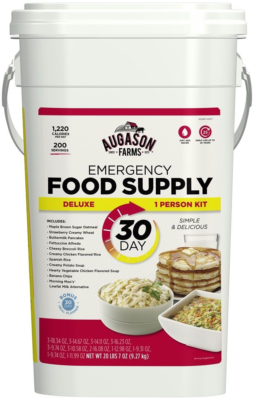 Augason Farms Food Supply 30 Day Emergency Storage 1 Person Pail Bucket Kit Luxe 1