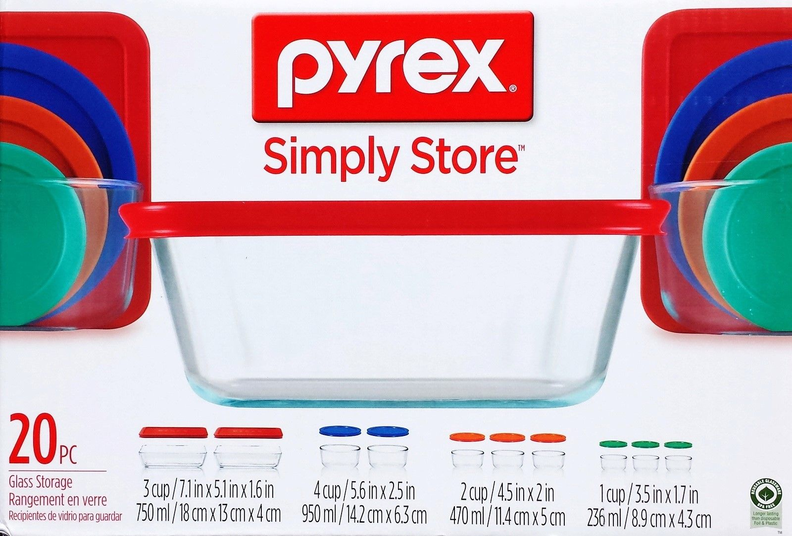 New Pyrex 20 pc Glass Food Storage Set Bakeware Bowls with Lids Serving 1