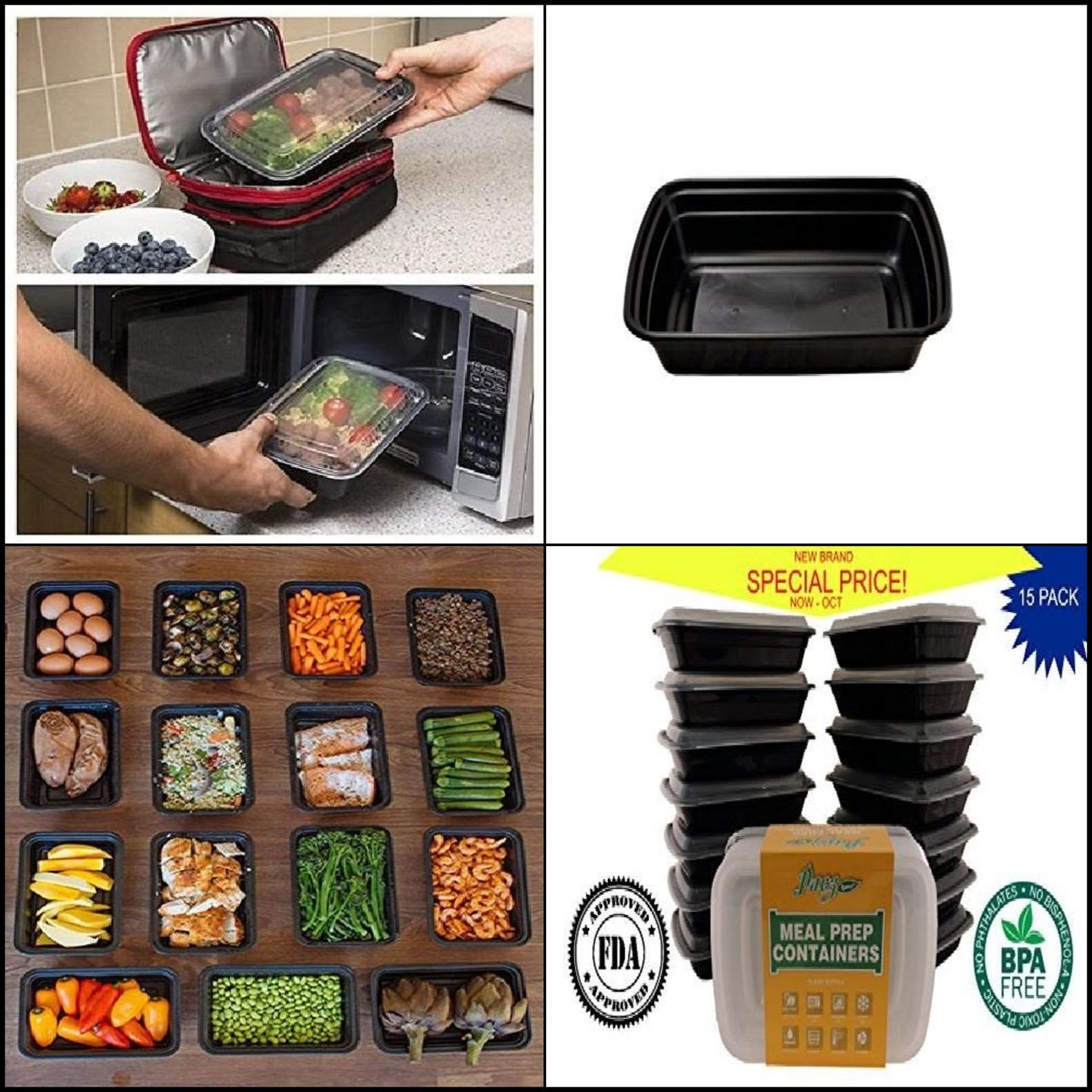 15 Meal Prep Containers Food Storage Reusable Microwavable 1 Compartment 25 oz 1