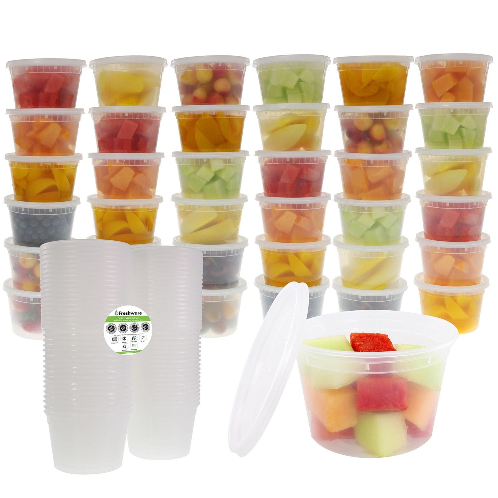 Freshware 36-Pack 16 oz Plastic Food Storage Containers with Airtight Lids 1