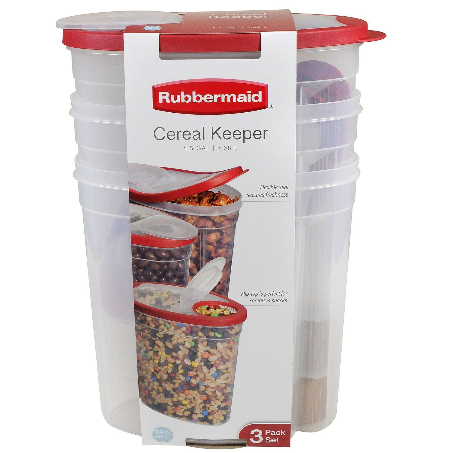Rubbermaid Cereal Keeper Plastic Storage Container Food Holder Set 3-Pk 1