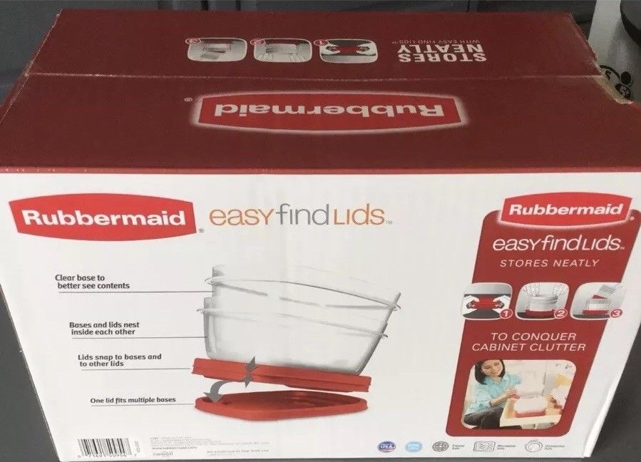 Rubbermaid Food Storage Container Set Red 36 Piece Easy Find Lids PBA Free USA 1