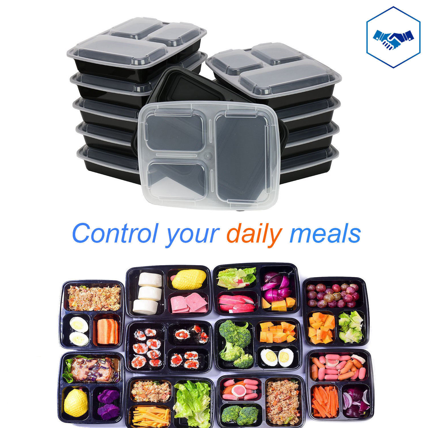 10 Meal Prep Food Storage Containers Microwave Lunch Bento Box  3 COMPARTMENT 1