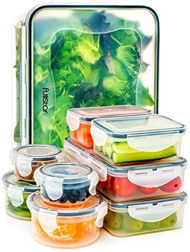 Food Storage Containers with Lids - Airtight Leak Proof Easy Snap Lock and BPA 1