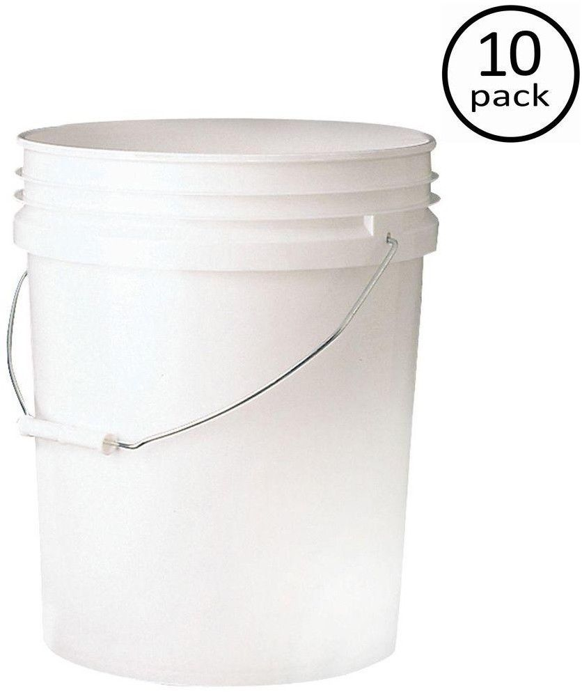 Leaktite 5-gal. Plastic Food Storage Container Containers Bucket Buckets Qty 10 1