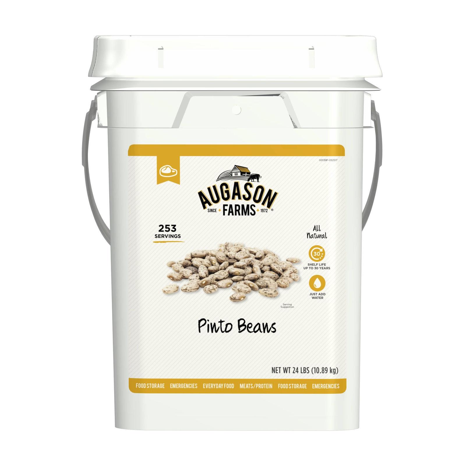 Augason Farms Pinto Beans Emergency Bulk Food Storage 24 Pound 4 Gallon Pail 253 1