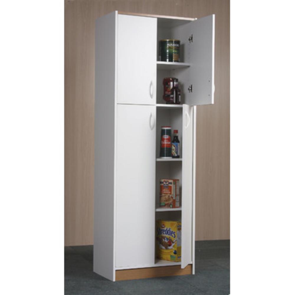 Food Pantry Storage White Kitchen Cabinet 4 Door Cupboard Organizer 5 Shelves 1