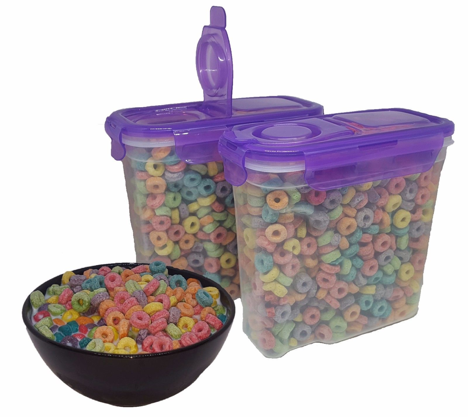 Dry Food Storage Containers with Clip Lock Purple Lid 50 oz. Sure Fresh 2-Pack 1