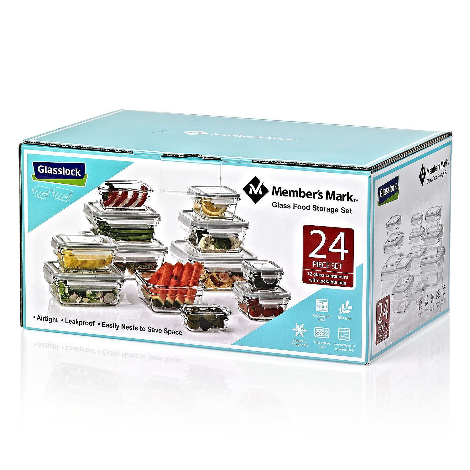 Member's Mark 24-Piece Glass Food Storage Set by Glasslock BPA Free Containers 1