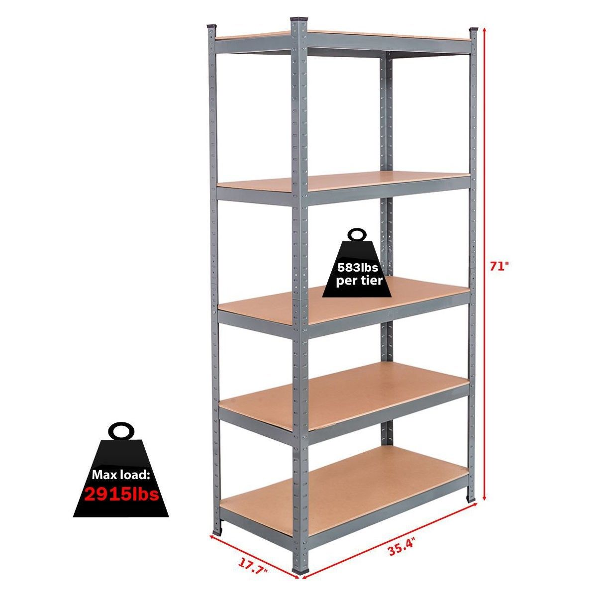 "71"" Heavy Duty Steel Adjustable 5 Level Storage Shelves store tools food books 1"
