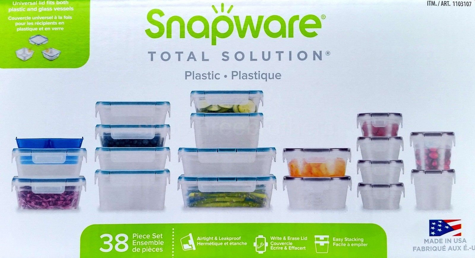 38 Piece Food Storage Containers Set Snapware Leakproof Plastic 1