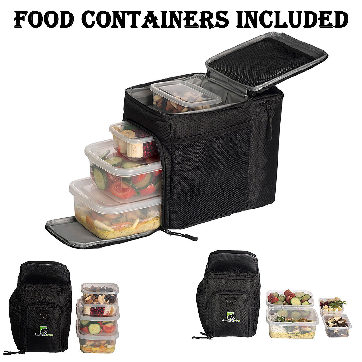 Meal Prep Insulated Lunch Bag Fitness Travel Storage Box 4 Food Containers 1