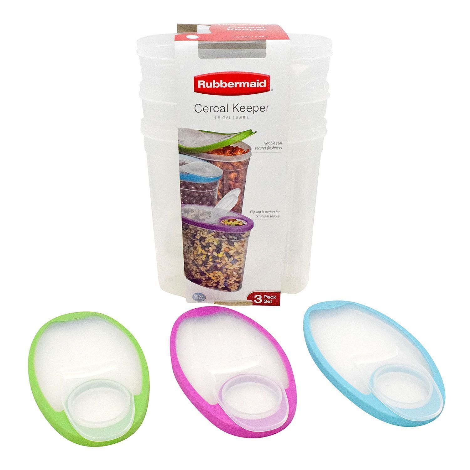 New 3 Pack 1.5 Gallon Rubbermaid Cereal Keeper Food Storage Plastic Container s 1