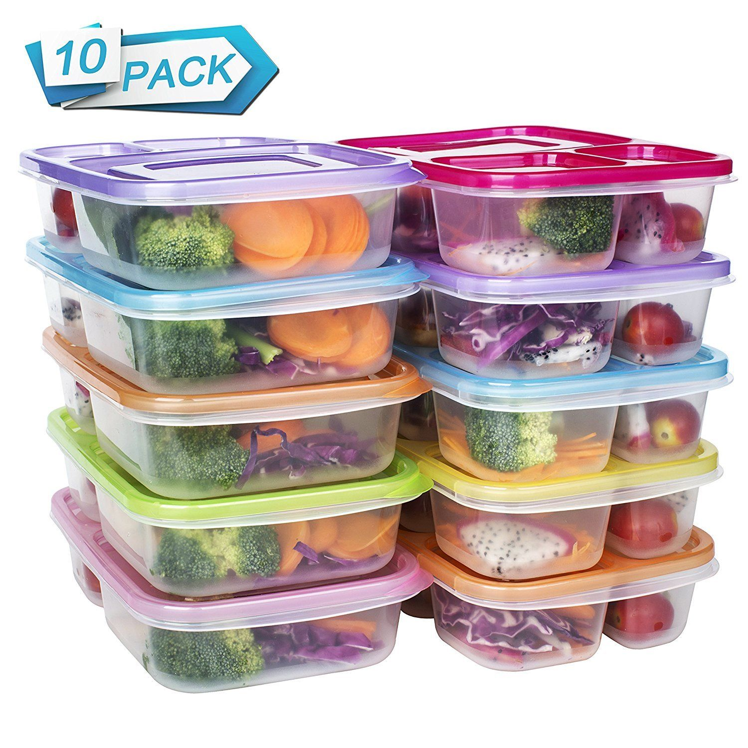 10 Meal Prep Containers Food Storage Reusable 3 Compartment Plastic Microwavable 1