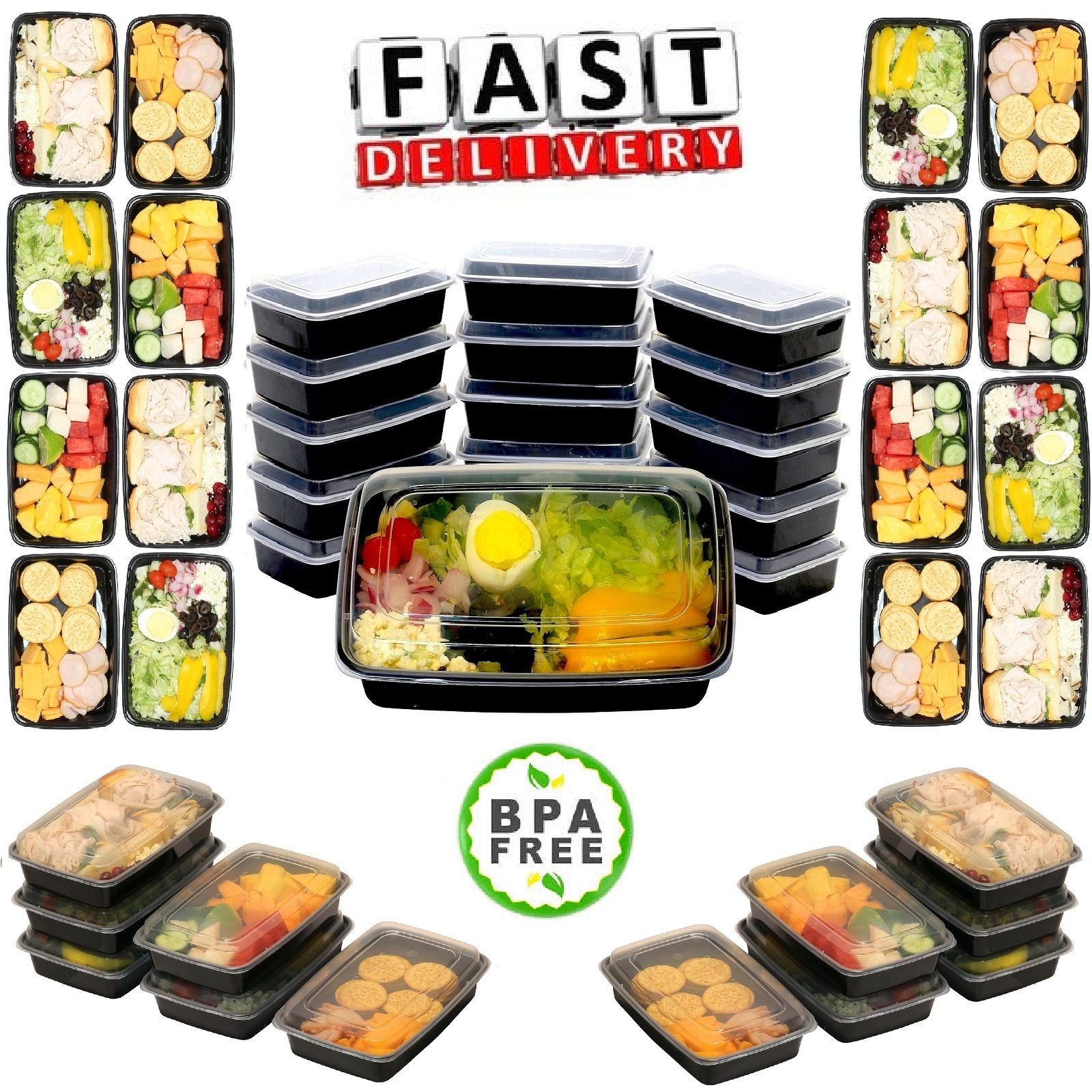 16 Meal Prep Containers Food Storage Reusable Microwave Freezer Dishwasher Safe 1