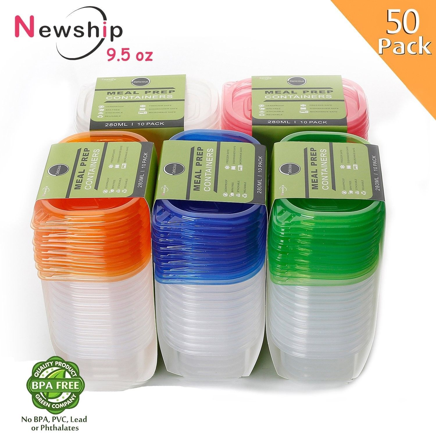 [50 Pack] Small Food Storage Containers with Lids, NewShip BPA Free Plastic 1
