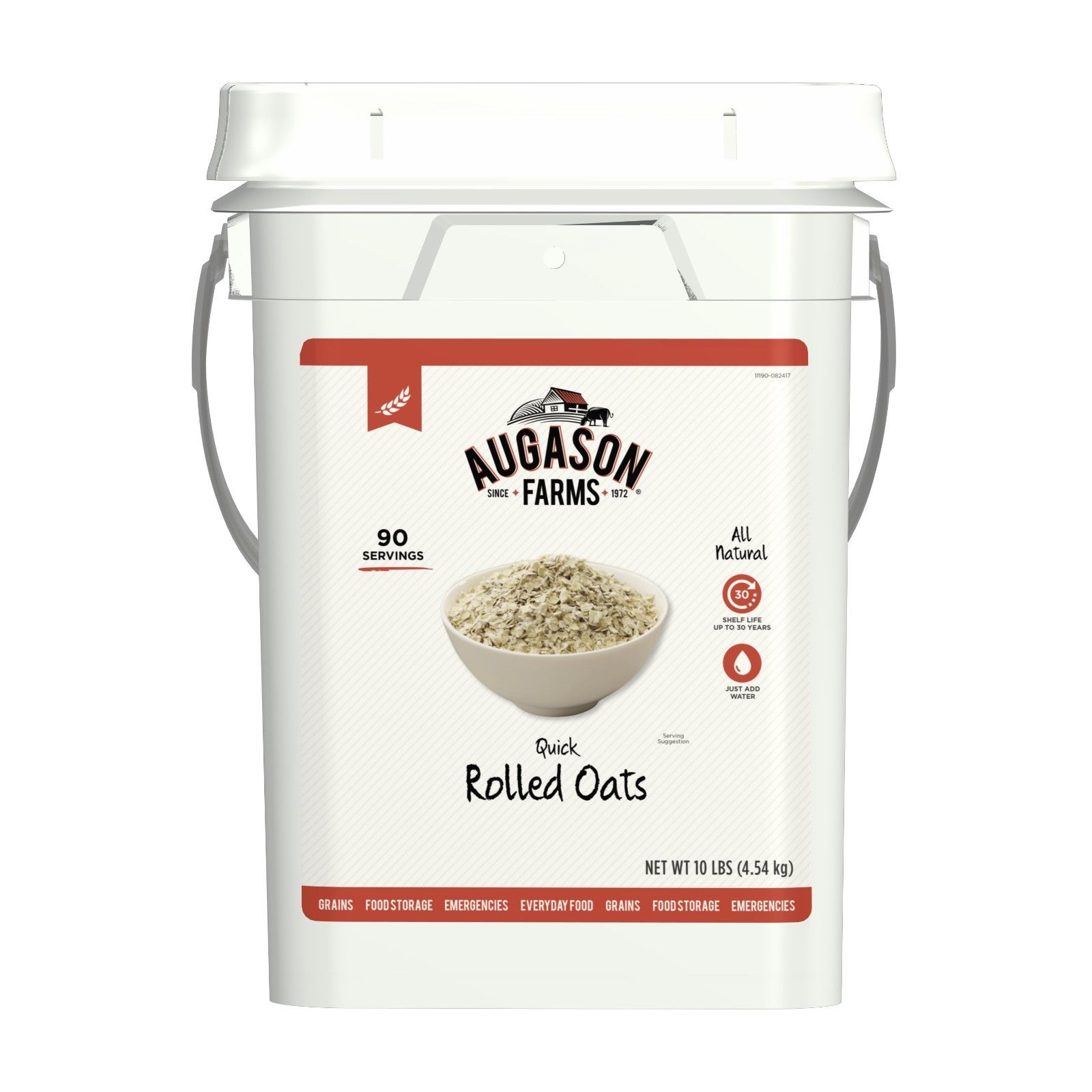 Augason Farms Quick Rolled Oats Emergency Food Storage 10 Pound Pail 1