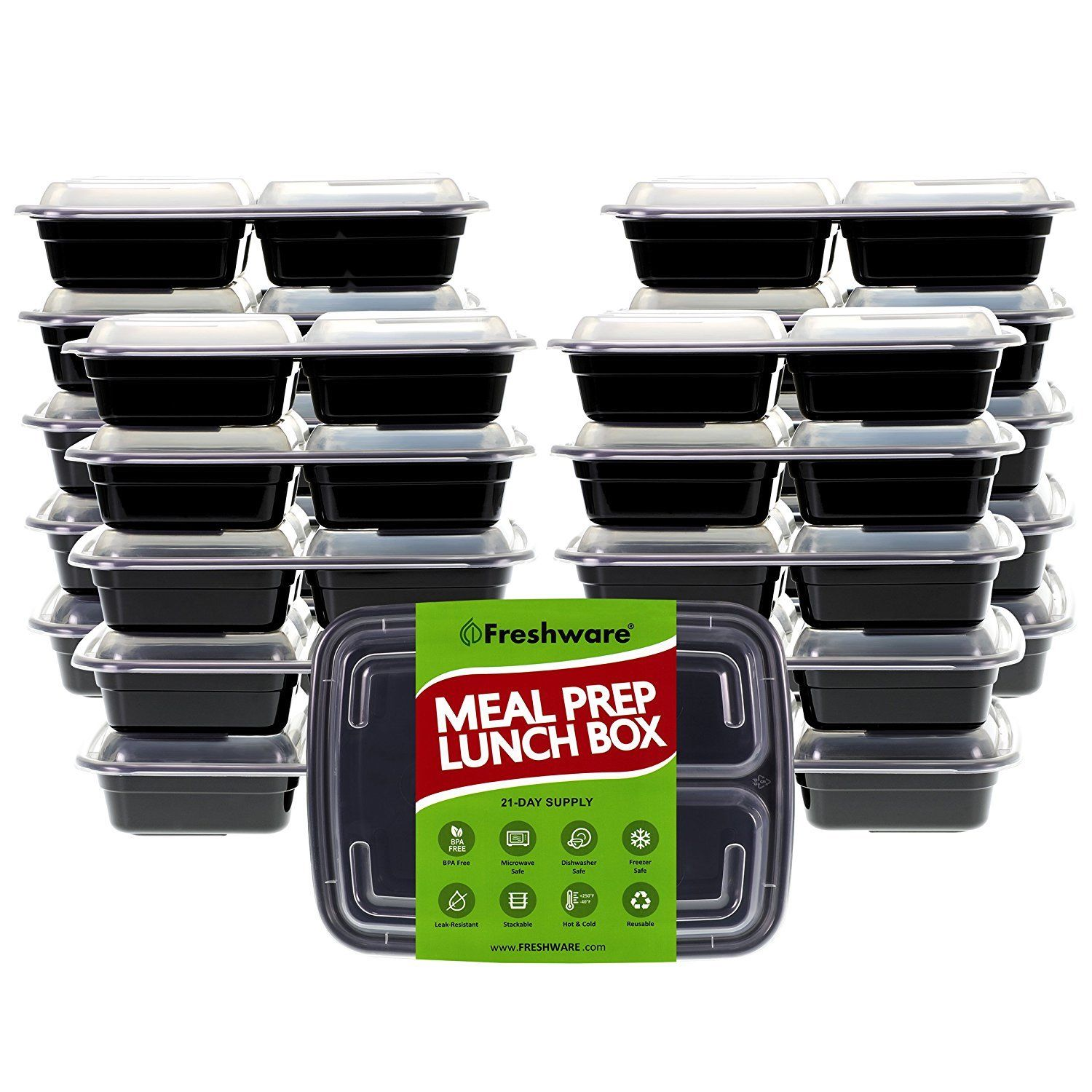 Freshware Meal Prep Containers 21 Pack 3 Compartment With Lids, Food Storage Box 1
